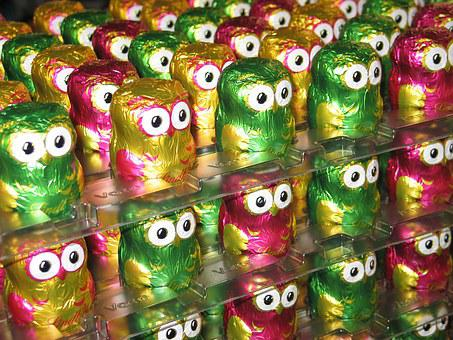 Owls, Chocolate, Lindt, Colorful, Holkörper