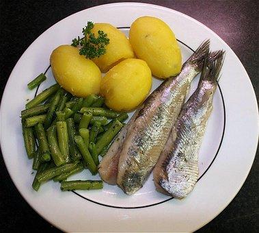 Herring, Maties, Fish, Potatoes, Beans