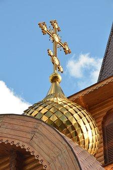 Church, Cross, Religion, Russian, Orthodox, Faith, Gold