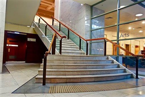 Stairs, Stairwell, Stairway, Interior, Handrail