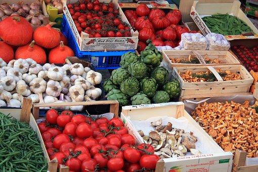 Market, Vegetables, Food, Tomatoes, Paprika, Eggplant