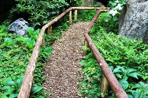 Away, Roma Table, Wood Chips, Handrail, Stone Garden