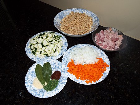 Soup, Recipe, Carrots, Onions, Beans, Zucchini, Ham
