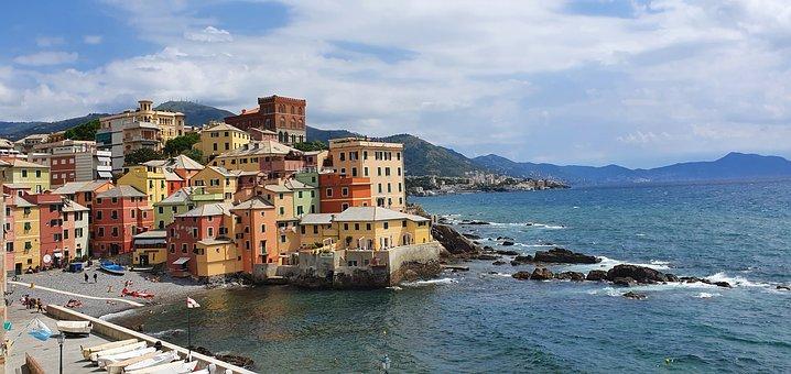 Genoa, City, Sea, Coast, Colourful Houses, Buildings