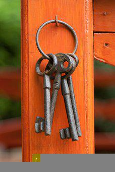 Keys, Metallic, Door Opener, Keychain