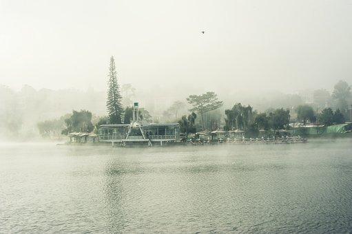 Lake, House, Fog, Sunrise, Dalat, Vietnam, Sky, Scenery