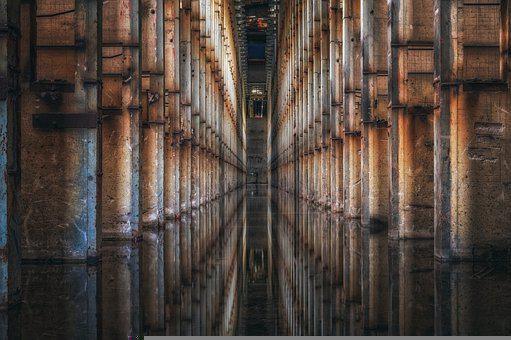 Building, Hall, Abandoned, Water, Reflection, Urbex