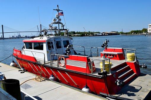 Fireboat, Dock, River, Savannah Fireboat, Water