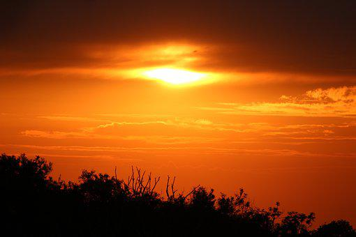 Sunset, Dusk, Evening, Clouds, Cotswolds, Hedge