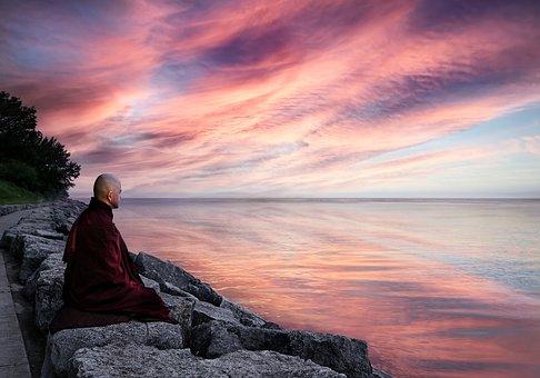 Monk, Meditation, Lake, Sunset, Dusk, Horizon, Sky