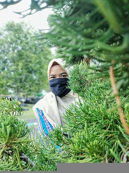 Muslim, Woman, Tree, Mask, Face Mask, Girl, Hijab