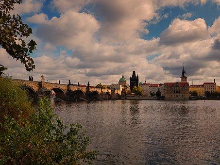 Prague, Vltava, River, Bridge, Europe, Architecture