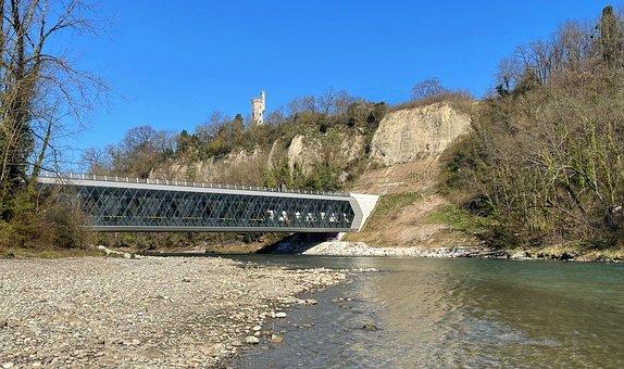 Bridge, Tunnel, River, Train, Water, Pebbles, Arve