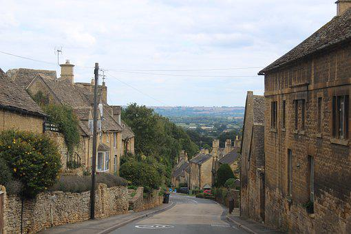 Road, Cottage, Hill, Village, Countryside, Cotswolds