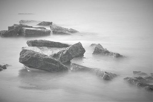 Sea, Rocks, Black And White, Long Exposure, Ocean
