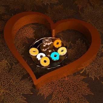 Donuts, Heart, Pastries, Kringel, Cake, Candy, Eat