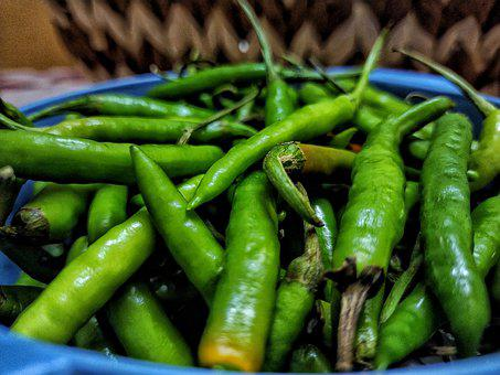 Green Chillies, Chilly, Chili, Spicy, Food, Spices