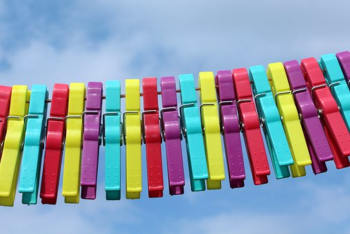 Buckles, Colorful, Paper Clips, Hang, Drying, Strain