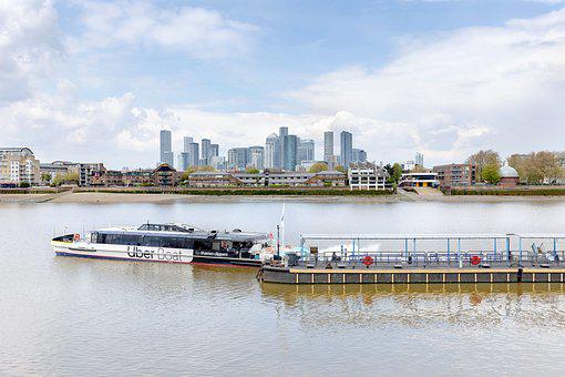 Uber Boat, London, River, Dock, Pier, City, Skyline