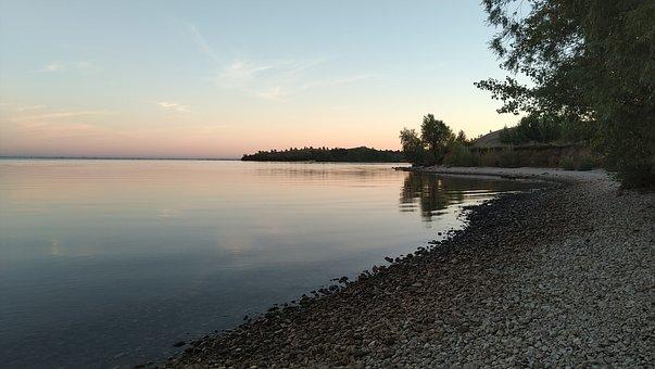 Dawn, Nature, River, Stones, Volga, Water, Pebbles