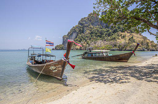Boats, Sea, Beach, Asia, Thailand, Krabi, Island