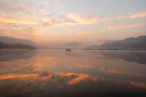 Sunset, Lake, Boat, Silhouette, Clouds, Sky, Horizon