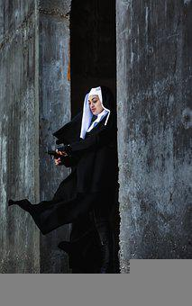 Wall, Concrete, Construction, Girl, Costume, Nun