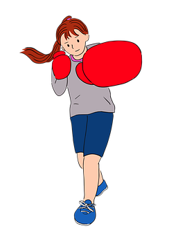 Woman, Exercise, Boxing Gloves, Boxer Size, Diet