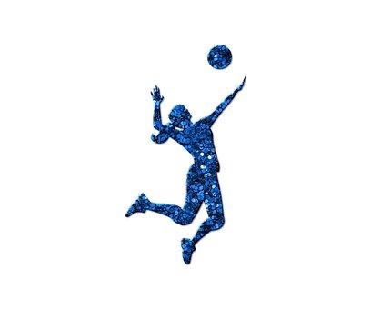 Blue Glitter, Volleyball, Girl, Glitter, Woman, Spiking