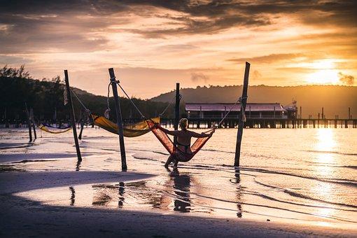 Travel, Tourist, Cambodia, Island, Lake, Beach, Hammock