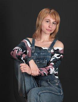 Woman, Sitting, Model, Smile, Studio, Tender, Posing