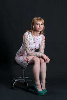 Woman, Model, Embroidered Dress, Sitting On A Chair