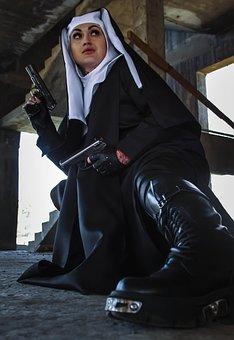 Nun, Woman, Girl, Model, Weapons, Gun, Religion, Sister