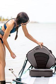 Paddleboarding, Woman, Sea, Paddleboard