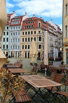 Buildings, Tables, Seats, Restaurant, Street, Europe
