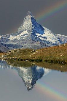Rainbow, Matterhorn, Zermatt, Nature, Landscape, Sky