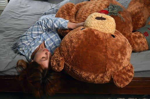 Girl, Bear, Soft Toy, Hug, Teddy, Bed, Friends, Fantasy