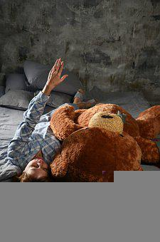 Girl, Bear, Teddy, Soft Toy, Bedtime Stories, Fantasy