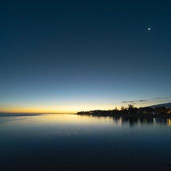 Sunset, Beach, Reunion Island, Sea, Ocean, Water