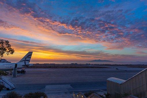 Santorni, Airport, Sunrise, Sky, Tour, Orange, The Sun
