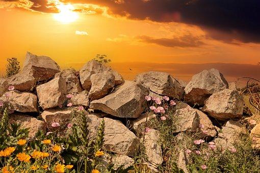 Rock, Stone Wall, Sunset, Wild Flowers, Dusk, Twilight