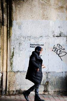 Man, Walking, Street, Beşiktaş, Istanbul, Smoking