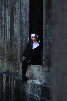 Wall, Concrete, Girl, Window, Costume, Gun, Nun