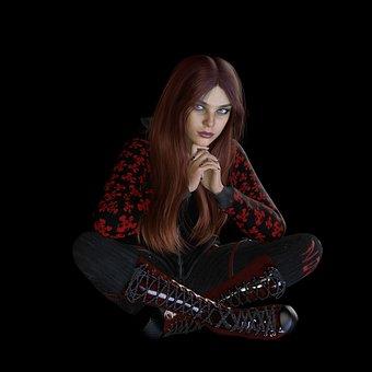 Woman, Sitting, Dark, Gothic, Punk, Female, Mysterious