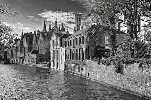Bruges, River, City, Monochrome, Buildings, Water