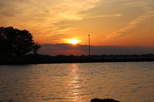 Sunset, Sunrise, Lake, Horizon, Sky, Sun, Water, Clouds