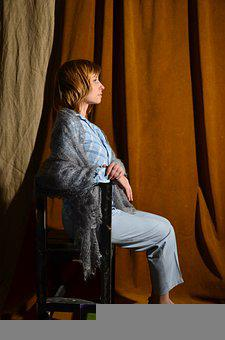 Woman, Chair, Sitting, Profile, Fabric