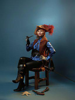 Pirate, Woman, Tobacco Pipe, Tobacco, Smoking, Weapon