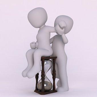 Hourglass, Time, 3d Men, Pair, White Men, Wait