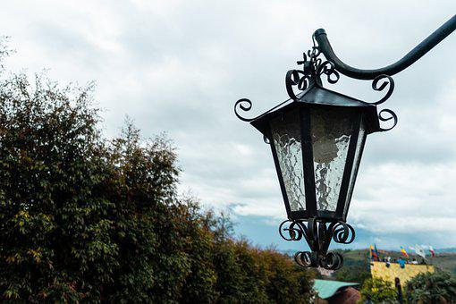 Lamp, Sky, Plants, Clouds, Flashlight, Lighting, Cloud